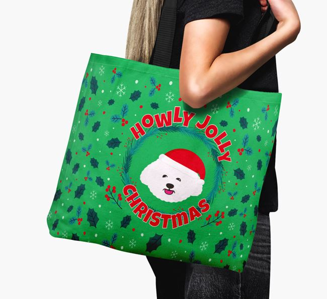 'Howly Jolly' - Personalised Bichon Frise Canvas Bag