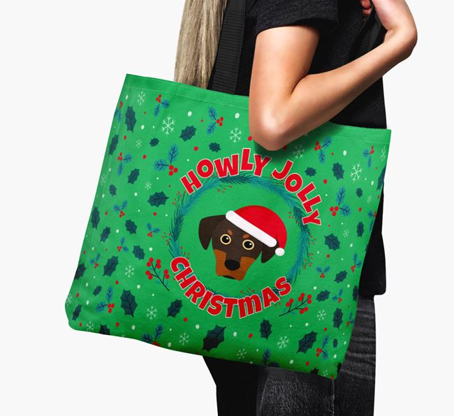 'Howly Jolly' - Personalised Blue Lacy Canvas Bag