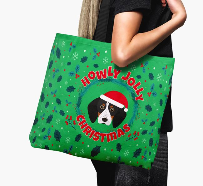 'Howly Jolly' - Personalised Bluetick Coonhound Canvas Bag