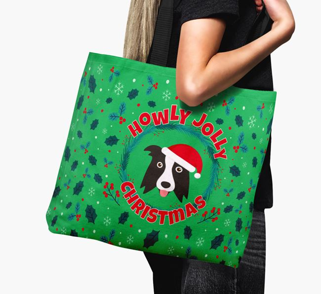 'Howly Jolly' - Personalised Border Collie Canvas Bag
