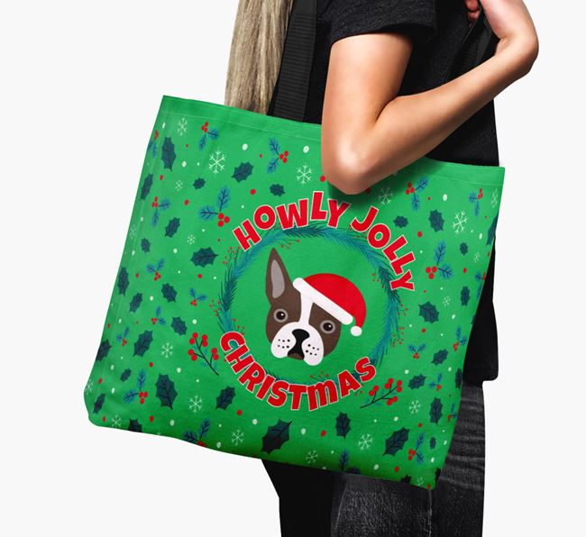'Howly Jolly' - Personalised Boston Terrier Canvas Bag