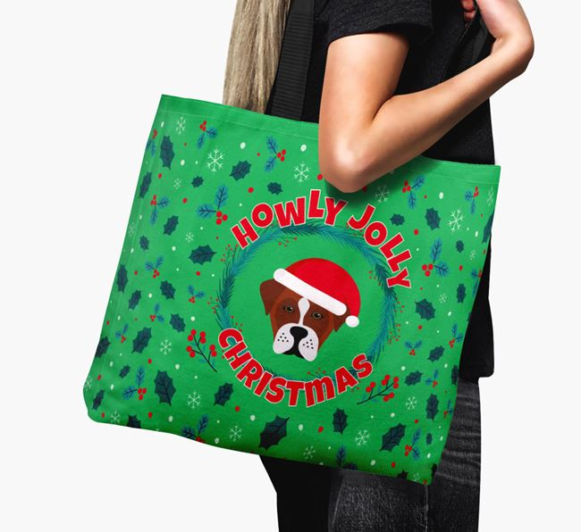 'Howly Jolly' - Personalised Boxador Canvas Bag