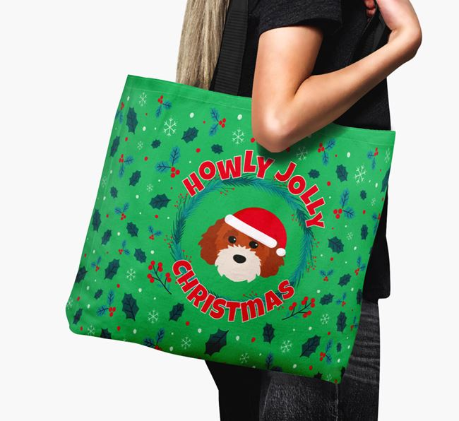 'Howly Jolly' - Personalised Cavapoochon Canvas Bag