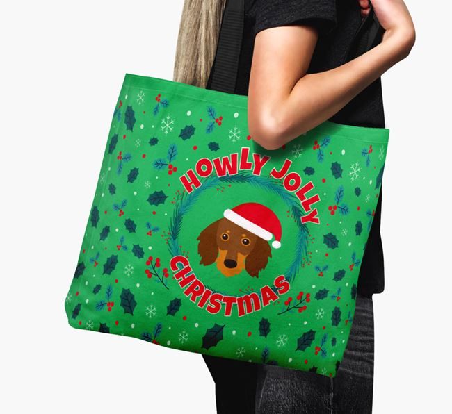 'Howly Jolly' - Personalised Dachshund Canvas Bag