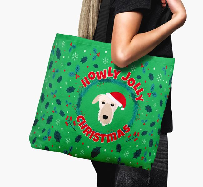 'Howly Jolly' - Personalised Deerhound Canvas Bag