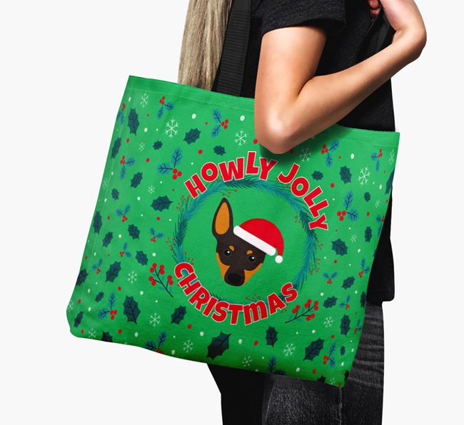 'Howly Jolly' - Personalised English Toy Terrier Canvas Bag