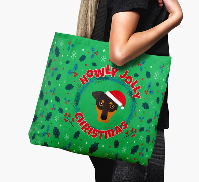 'Howly Jolly' - Personalised German Pinscher Canvas Bag