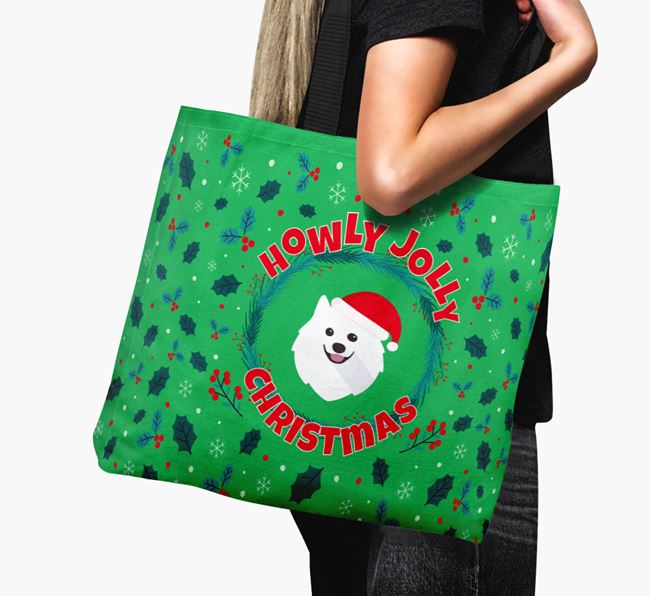 'Howly Jolly' - Personalised Japanese Spitz Canvas Bag