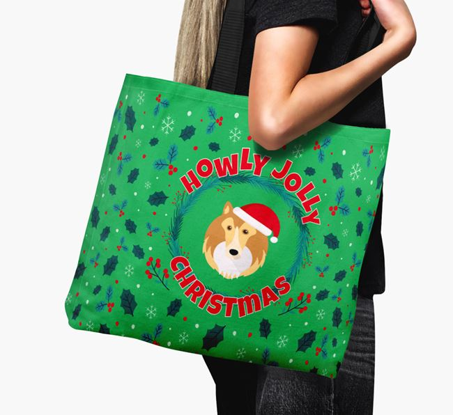 'Howly Jolly' - Personalised Rough Collie Canvas Bag