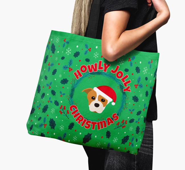'Howly Jolly' - Personalised Staffordshire Bull Terrier Canvas Bag