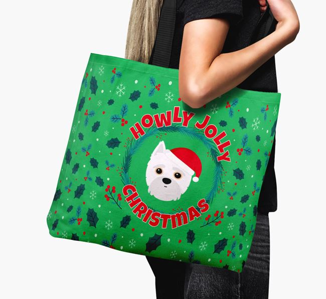 'Howly Jolly' - Personalised Yorkipoo Canvas Bag