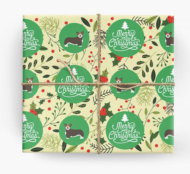 'Merry Christmas' - Personalised Corgi Wrapping Paper