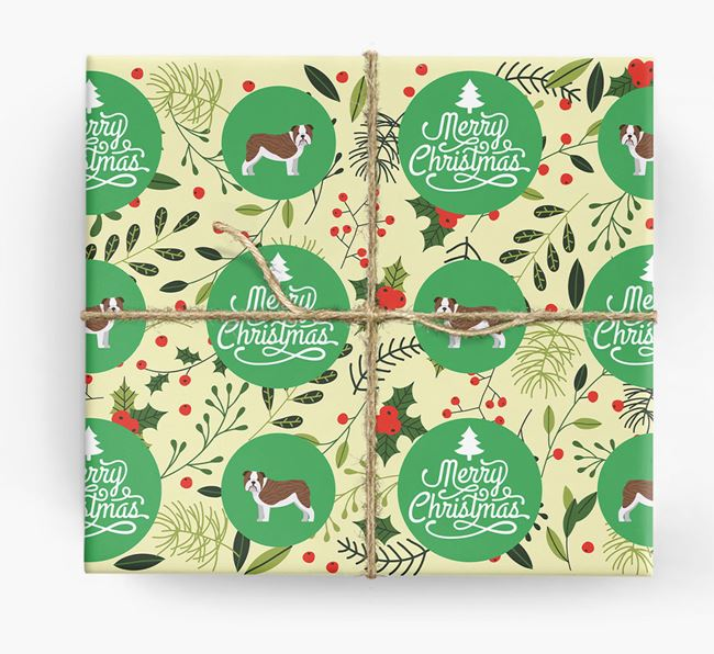 'Merry Christmas' - Personalised English Bulldog Wrapping Paper
