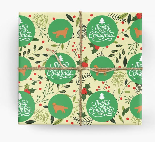 'Merry Christmas' - Personalised Golden Retriever Wrapping Paper