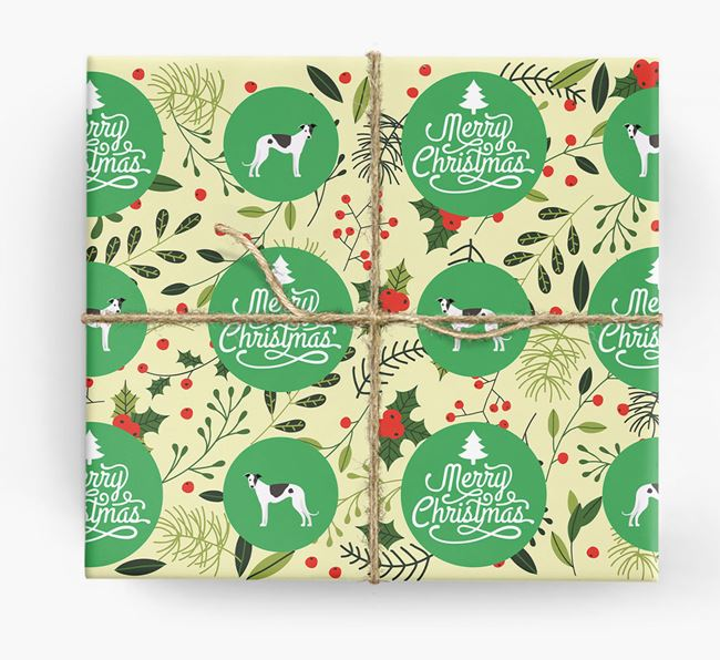 'Merry Christmas' - Personalised Greyhound Wrapping Paper