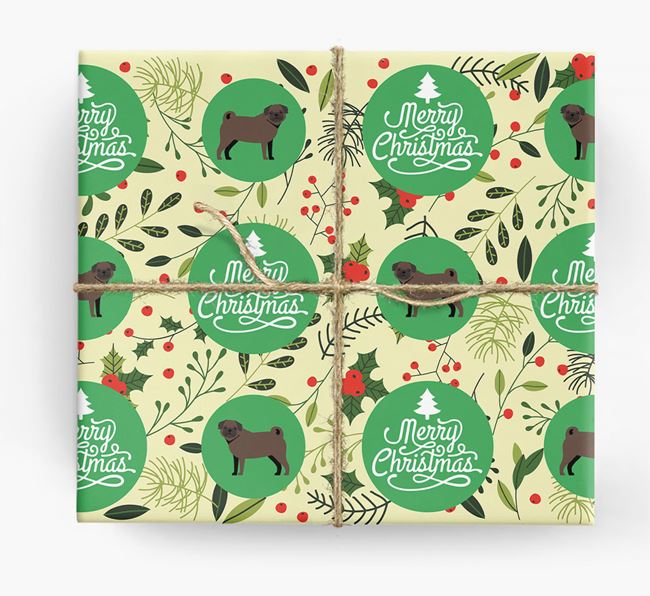 'Merry Christmas' - Personalised Pug Wrapping Paper
