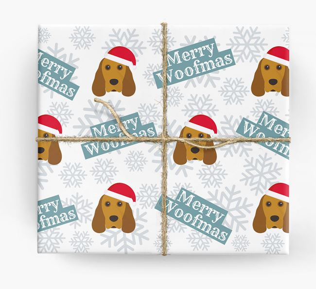 'Merry Woofmas' - Personalised Cocker Spaniel Wrapping Paper