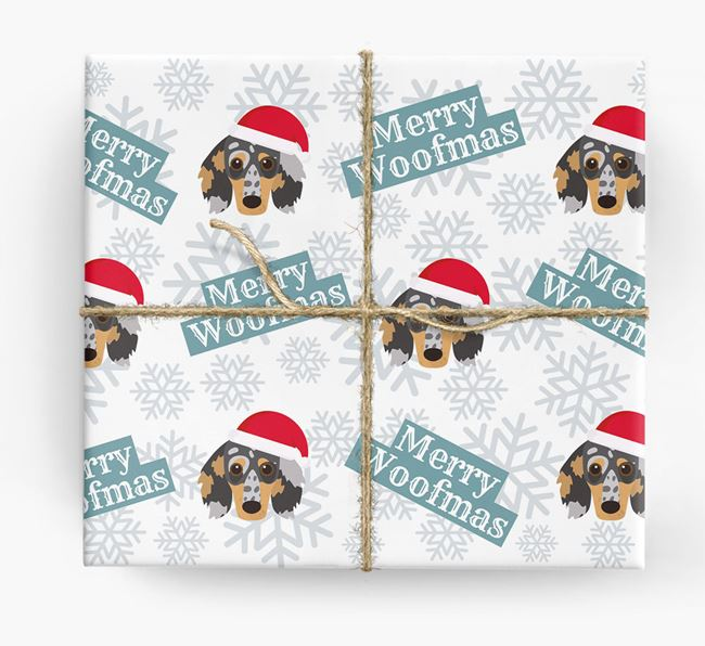 'Merry Woofmas' - Personalised Dachshund Wrapping Paper