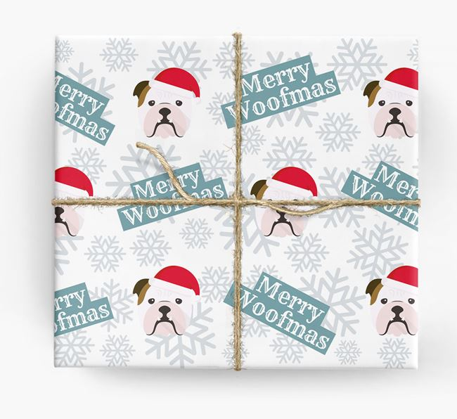 'Merry Woofmas' - Personalised English Bulldog Wrapping Paper