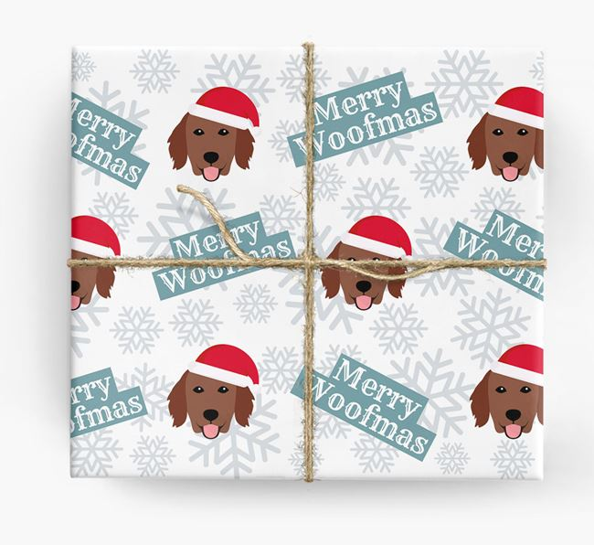 'Merry Woofmas' - Personalized Flat-Coated Retriever Wrapping Paper