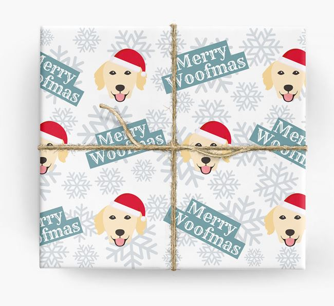'Merry Woofmas' - Personalised Golden Retriever Wrapping Paper