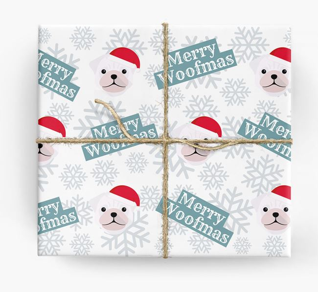 'Merry Woofmas' - Personalised Pug Wrapping Paper