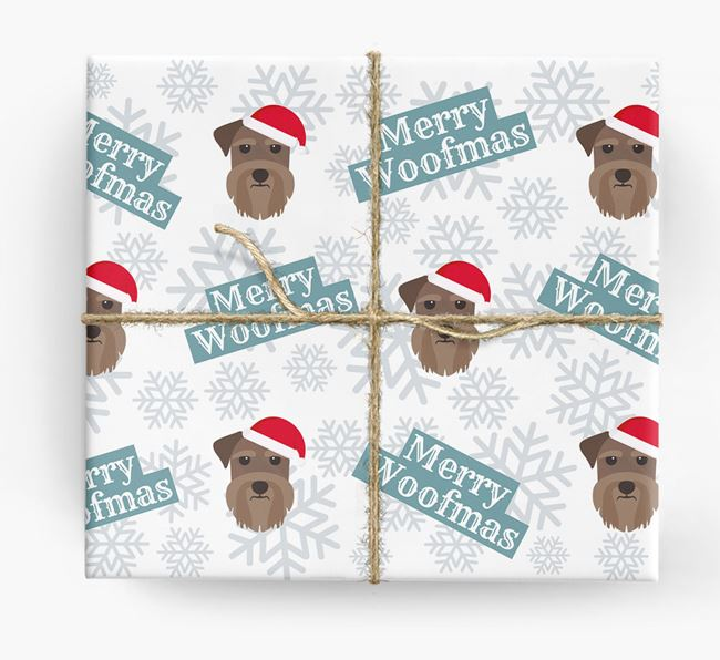 'Merry Woofmas' - Personalised Schnauzer Wrapping Paper