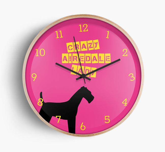 'Crazy Airedale Lady' Beech Wall Clock