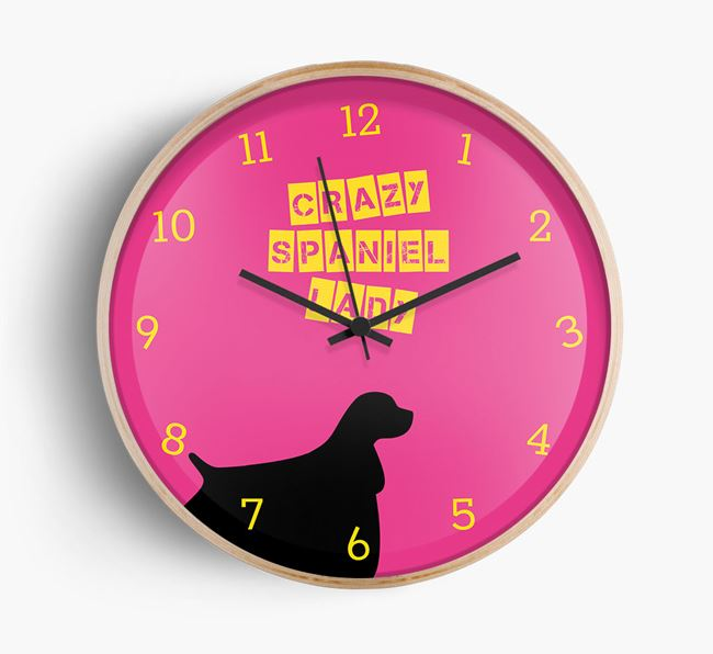 'Crazy Spaniel Lady' Beech Wall Clock