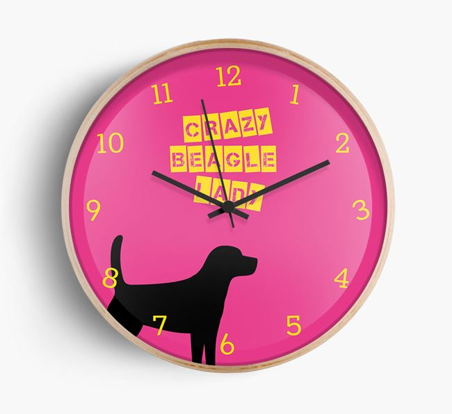 'Crazy Beagle Lady' Beech Wall Clock