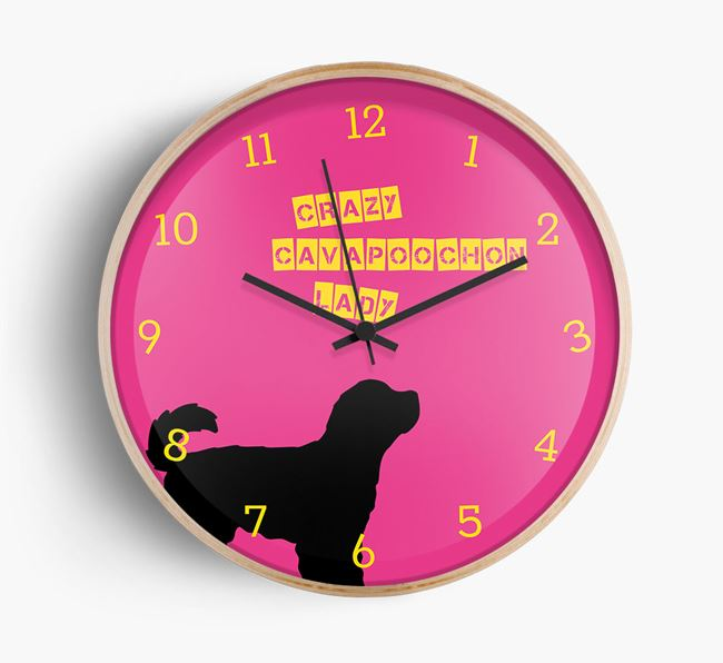 'Crazy Cavapoochon Lady' Beech Wall Clock