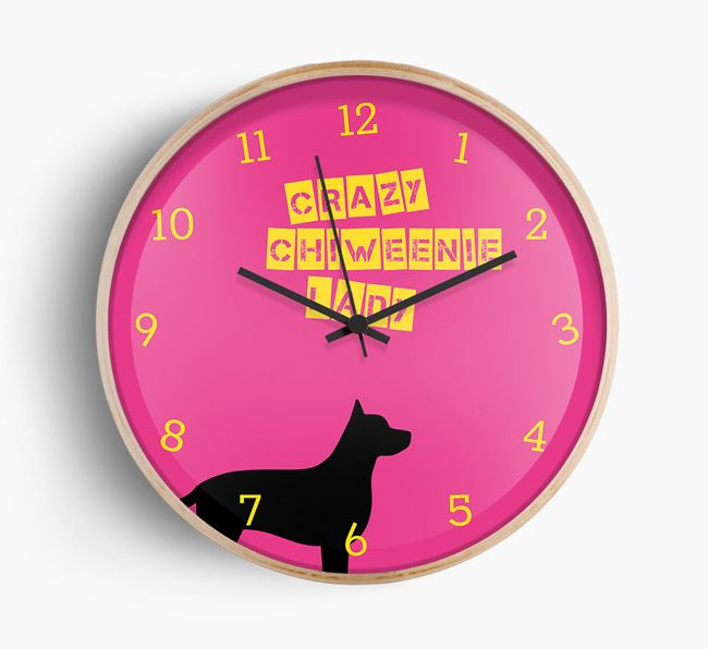 'Crazy Chiweenie Lady' Beech Wall Clock