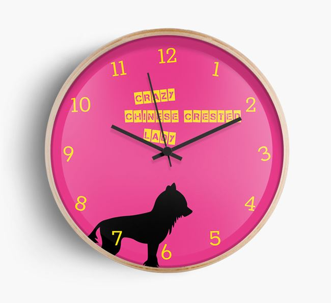 'Crazy Chinese Crested Lady' Beech Wall Clock