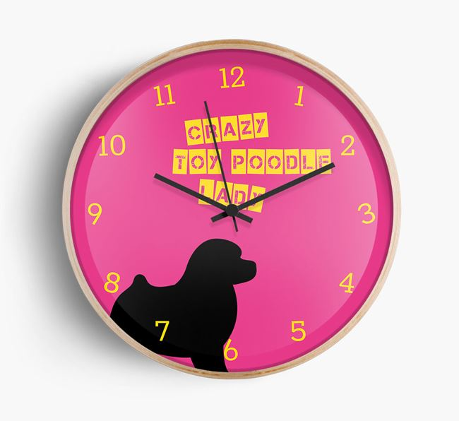 'Crazy Toy Poodle Lady' Beech Wall Clock