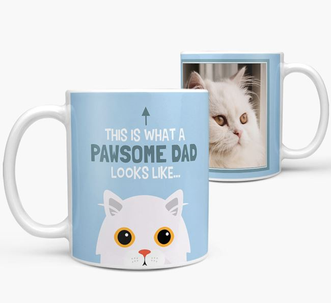 'Pawsome Dad' - Photo Upload Mug with Cat Icon