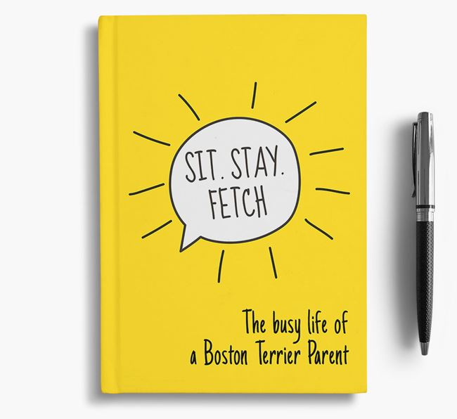 'The busy life of a Boston Terrier Parent' Personalised Notebook