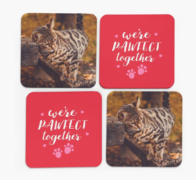 'We're Pawfect Together' Coasters with Photo of your Bengal - Set of 4