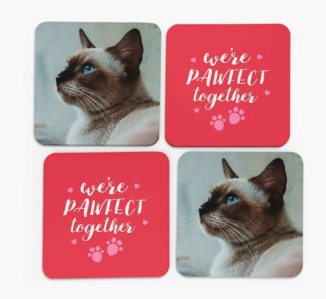 'We're Pawfect Together' Coasters with Photo of your Siamese - Set of 4