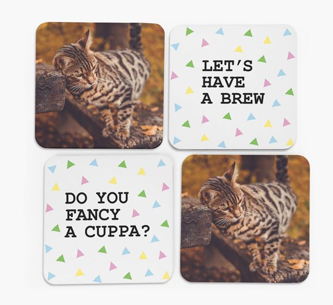 Triangle Pattern Coasters with Photo of your Bengal - Set of 4