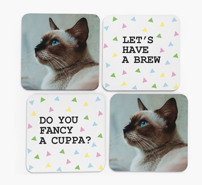 Triangle Pattern Coasters with Photo of your Siamese - Set of 4