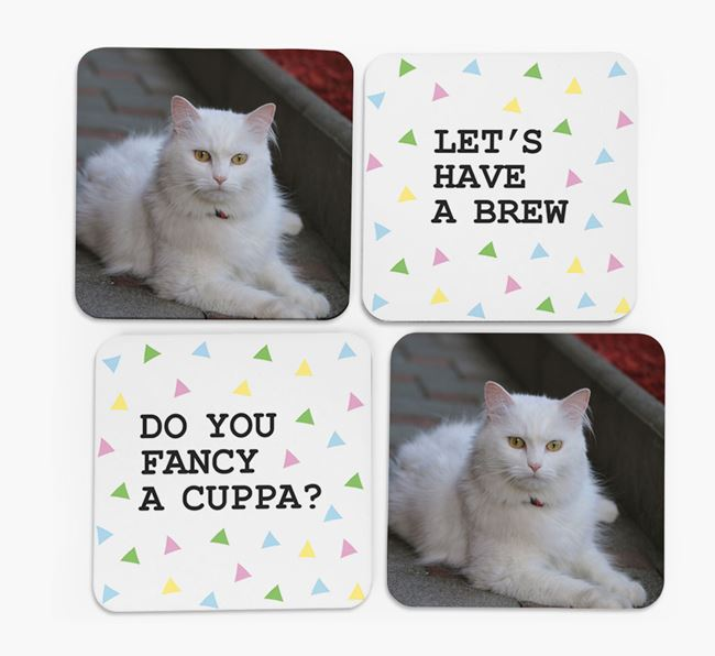 Triangle Pattern Coasters with Photo of your Cat - Set of 4