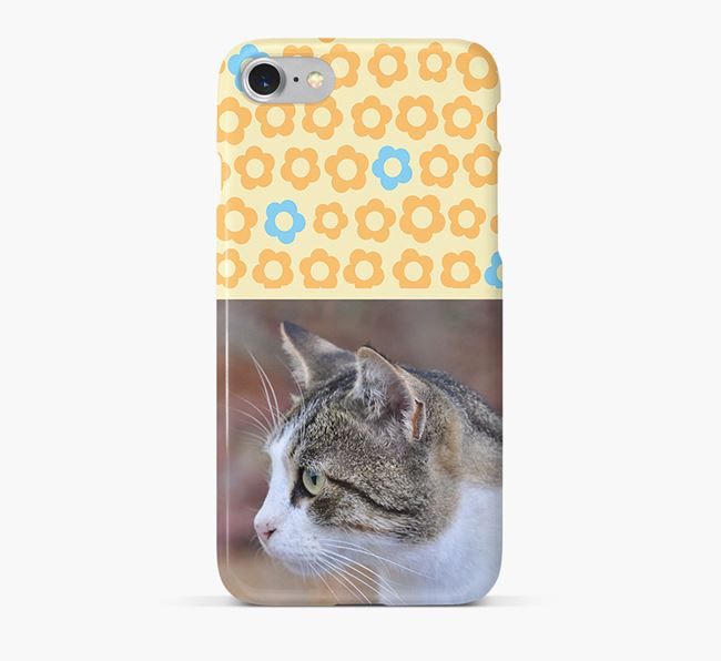 Flower Pattern Phone Case with photo of your Cat