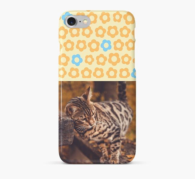 Flower Pattern Phone Case with photo of your Bengal