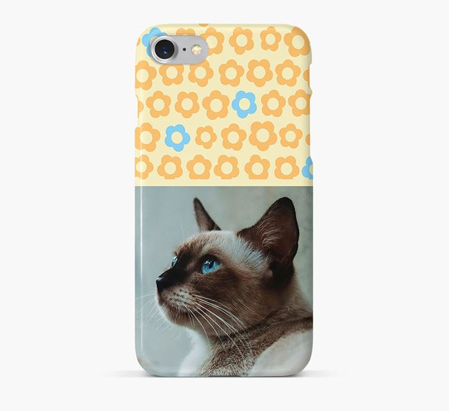 Flower Pattern Phone Case with photo of your Siamese