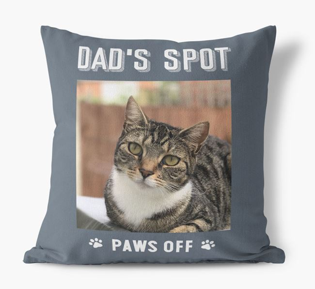 'Dad's Spot, Paws Off' Cushion with photo of your Ashera
