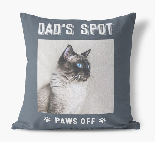 'Dad's Spot, Paws Off' Cushion with photo of your Balinese