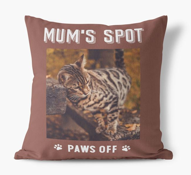 'Mum's Spot, Paws Off' - Photo Upload Cushion for your Bengal