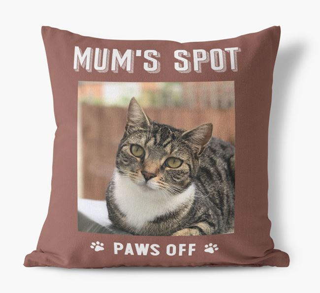 'Mum's Spot, Paws Off' - Photo Upload Cushion for your Cat