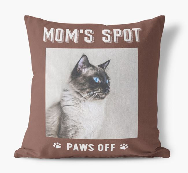 'Mom's Spot, Paws Off' - Balinese Photo Upload Pillow
