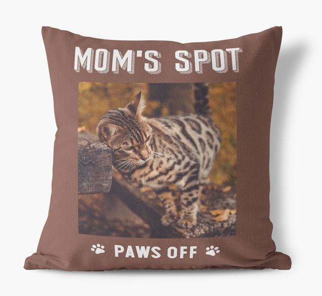 'Mom's Spot, Paws Off' - Bengal Photo Upload Pillow